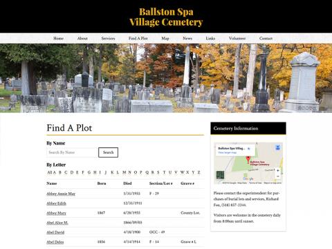 Ballston Spa Cemetery Find A Plot